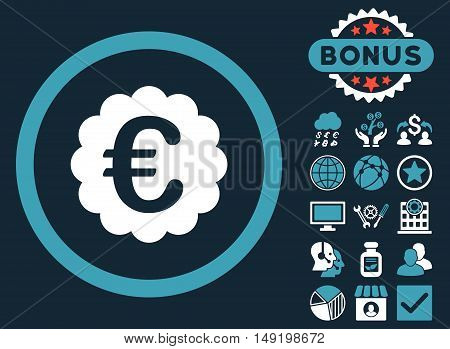 Euro Quality Seal icon with bonus images. Vector illustration style is flat iconic bicolor symbols blue and white colors dark blue background.