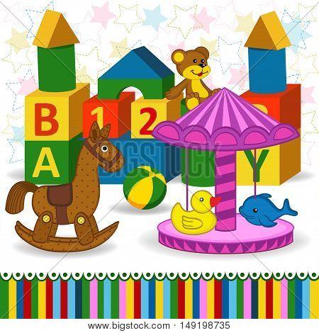 children toys and carousel  - vector illustration, eps