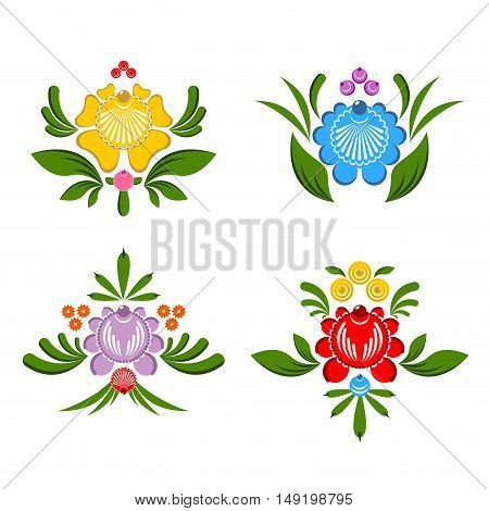 Flower Gorodets Painting. Russian National Folk Craft. Elements Of Traditional Painting In Russia