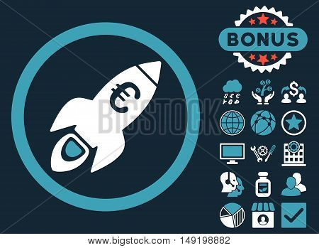Euro Rocket Startup icon with bonus design elements. Vector illustration style is flat iconic bicolor symbols blue and white colors dark blue background.