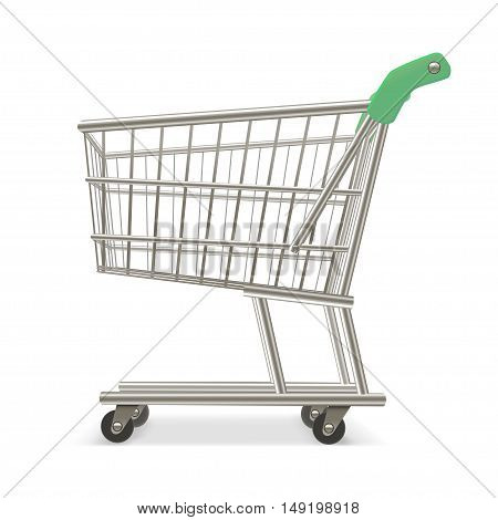 Empty Shopping Supermarket Cart. Business Retail Equipment. Vector illustration