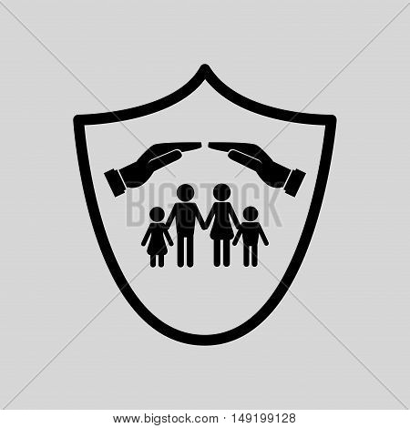 sheltering hands with insurance services related icons image vector illustration