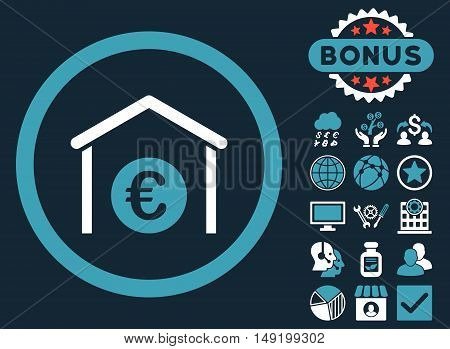 Euro Storage Building icon with bonus images. Vector illustration style is flat iconic bicolor symbols blue and white colors dark blue background.