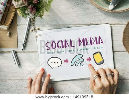 Social Media Communication Message Connecting Concept