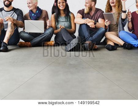 Diverse Friends Group Team Together Trendy Concept