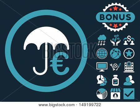Euro Umbrella icon with bonus images. Vector illustration style is flat iconic bicolor symbols blue and white colors dark blue background.