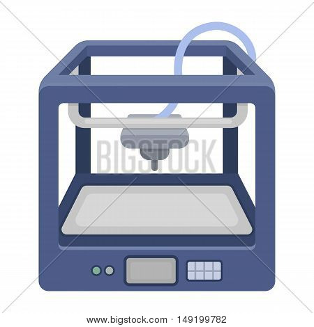 3D Printer in cartoon style isolated on white background. Typography symbol vector illustration.
