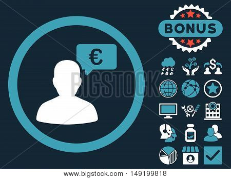 European Person Opinion icon with bonus pictures. Vector illustration style is flat iconic bicolor symbols blue and white colors dark blue background.