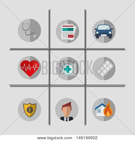 grid with insurance services and broker related icons image vector illustration