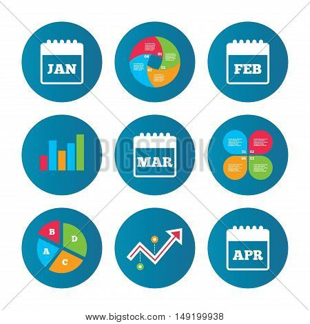 Business pie chart. Growth curve. Presentation buttons. Calendar icons. January, February, March and April month symbols. Date or event reminder sign. Data analysis. Vector