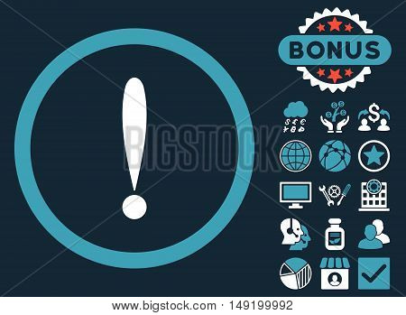 Exclamation Sign icon with bonus design elements. Vector illustration style is flat iconic bicolor symbols blue and white colors dark blue background.