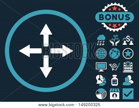 Expand Arrows icon with bonus pictures. Vector illustration style is flat iconic bicolor symbols blue and white colors dark blue background.