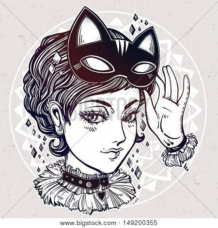 Beautiful anime or retro manga style poster of a woman with a cat mask. Girl dressed in headband with kitten ears. Magic, fantasy, tattoo art, coloring books. Isolated vector illustration.