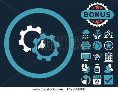 Gears icon with bonus design elements. Vector illustration style is flat iconic bicolor symbols blue and white colors dark blue background.