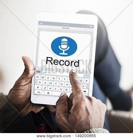 MIcrophone Media Communication Record Icon Concept