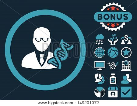 Genetic Engineer icon with bonus pictogram. Vector illustration style is flat iconic bicolor symbols blue and white colors dark blue background.