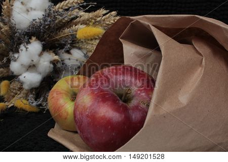 the apples in the bag next to the dry autumn flowers