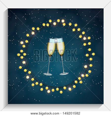 Abstract Beauty Merry Christmas and New Year Background with Glasses of Champagne. Vector Illustration EPS10
