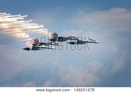 Sevastopol Russia - June 5 2016: Air show military aircraft. Falcons Russia. Aviadarts 2016