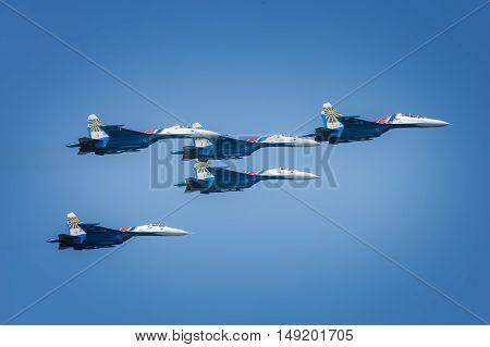 Sevastopol Russia - June 5 2016: Air show military aircraft. Russian Knights. Aviadarts 2016