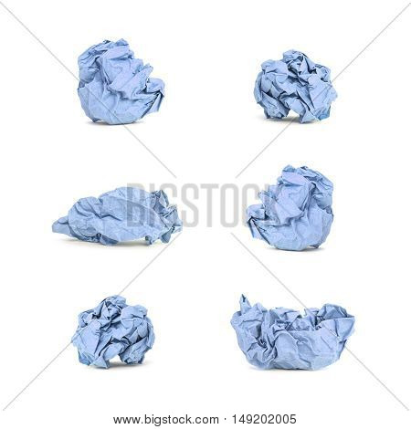 Closeup group of blue crumpled paper isolated on white background