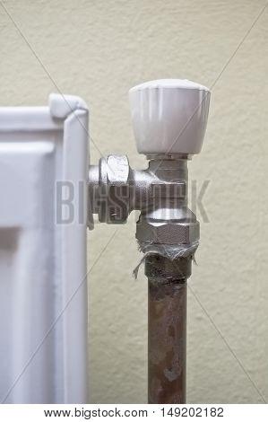 Corner of a domestic radiator radiator regulator