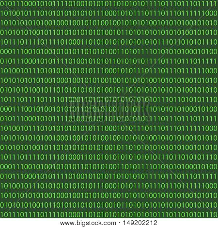 Matrix Background with green one and zero light. Binary Computer Code vector. For print or design