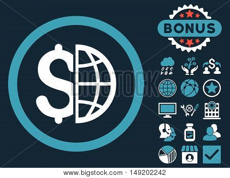 Global Business icon with bonus images. Vector illustration style is flat iconic bicolor symbols blue and white colors dark blue background.