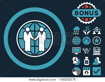 Global Partnership icon with bonus elements. Vector illustration style is flat iconic bicolor symbols blue and white colors dark blue background.