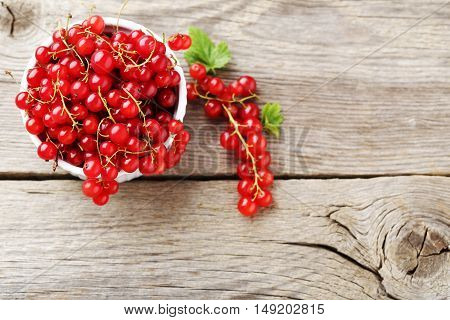 Red Currant On A Grey Wooden Table