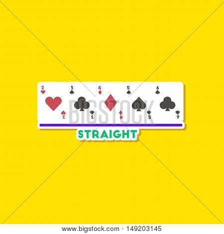 paper sticker on stylish background of poker cards straight