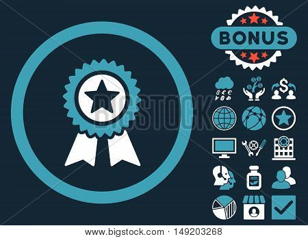 Guarantee icon with bonus elements. Vector illustration style is flat iconic bicolor symbols blue and white colors dark blue background.