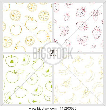set of patterns with fruits, vector seamless natural patterns