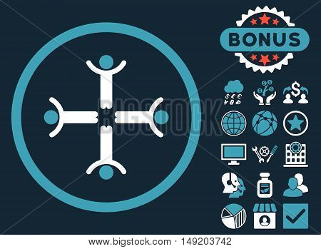 Hands Up Men icon with bonus images. Vector illustration style is flat iconic bicolor symbols blue and white colors dark blue background.