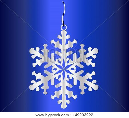 A single snowflake hanging froma red ribbon