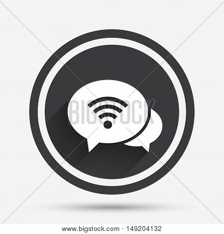 Chat speech bubbles. Wifi sign. Wi-fi symbol. Wireless Network icon. Wifi zone. Circle flat button with shadow and border. Vector