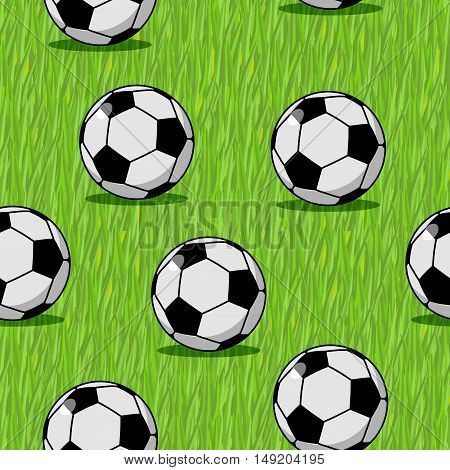 Soccer Ball Seamless Pattern. Sports Accessory Ornament. Football Background. Texture For Sports Tea