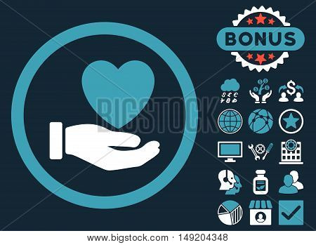 Heart Charity icon with bonus pictogram. Vector illustration style is flat iconic bicolor symbols blue and white colors dark blue background.