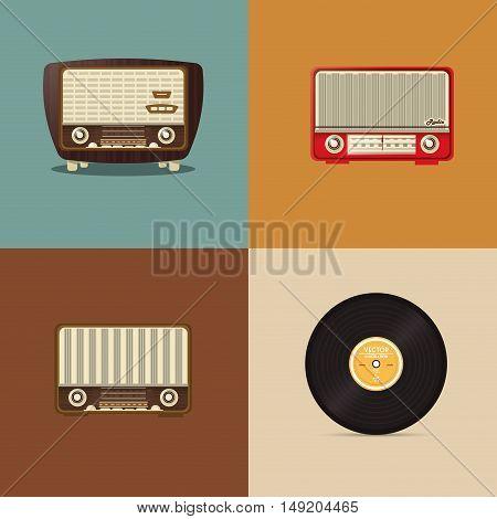 flat design retro radio with vinyl record image vector illustration