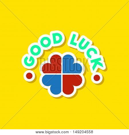 paper sticker on stylish background of good luck logo
