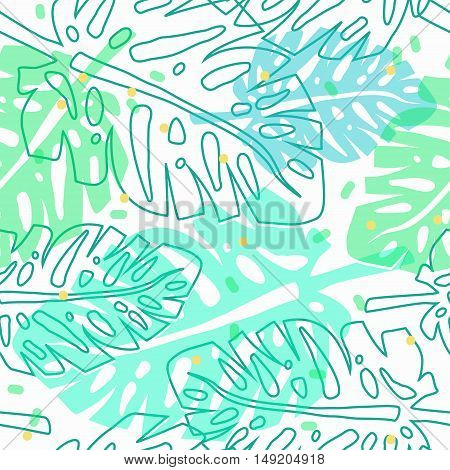 tropical pattern with palm leaves, vector seamless pattern with palm leaves, tropical wrapping paper