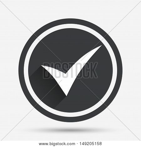 Check sign icon. Yes symbol. Confirm. Circle flat button with shadow and border. Vector