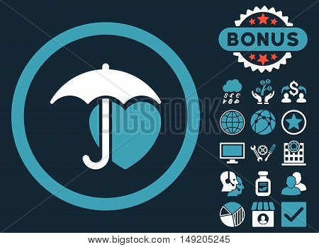 Heart Umbrella icon with bonus symbols. Vector illustration style is flat iconic bicolor symbols blue and white colors dark blue background.