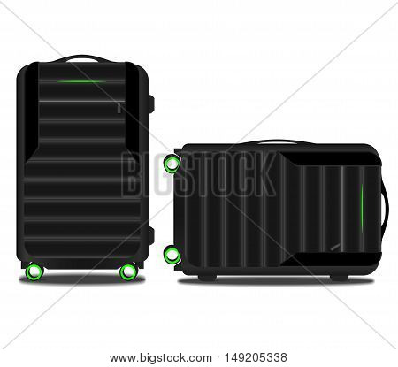 suitcase with a GPS system and a green light