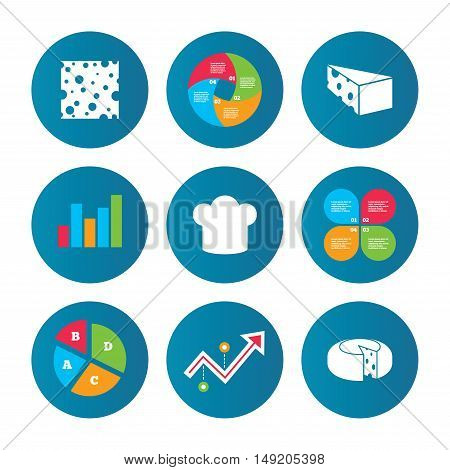 Business pie chart. Growth curve. Presentation buttons. Cheese icons. Round cheese wheel sign. Sliced food with chief hat symbols. Data analysis. Vector