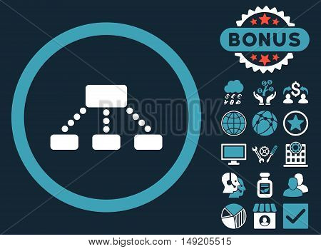 Hierarchy icon with bonus pictures. Vector illustration style is flat iconic bicolor symbols blue and white colors dark blue background.