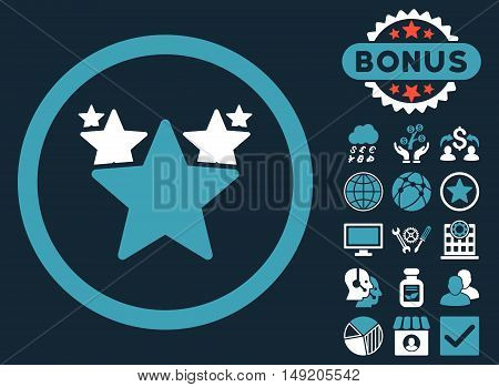 Hit Parade icon with bonus design elements. Vector illustration style is flat iconic bicolor symbols blue and white colors dark blue background.