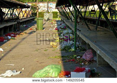 Trash or garbage on the street market