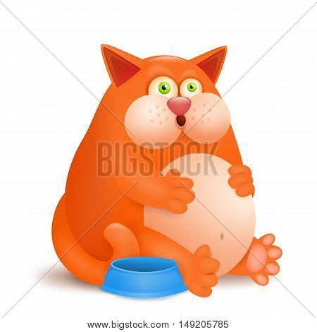 Fat glutton ginger cat with empty bowl on white background. Vector illustration