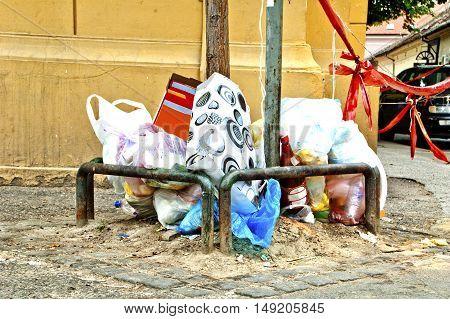 Trash or garbage on the street after week-end